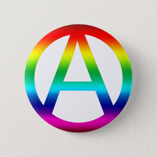 Rainbow Anarchy Symbol Pinback Button Zazzle