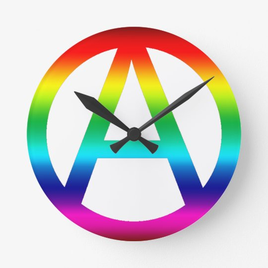 Rainbow Anarchy Symbol Round Clock