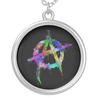 Rainbow Anarchy Symbol Round Pendant Necklace