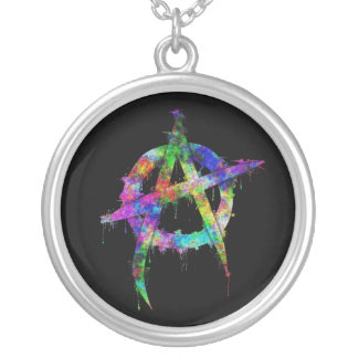 Rainbow Anarchy Symbol Silver Plated Necklace