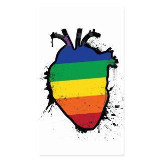rainbow anatomical heart business card