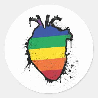 rainbow anatomical heart classic round sticker