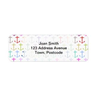 Rainbow anchor pattern return address label