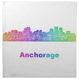 Rainbow Anchorage skyline Cloth Napkin