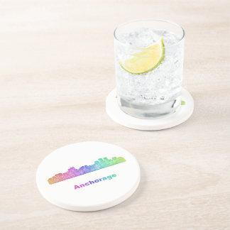 Rainbow Anchorage skyline Drink Coaster