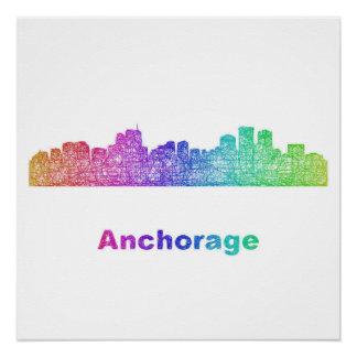 Rainbow Anchorage skyline Poster