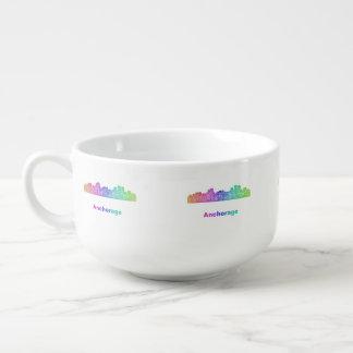 Rainbow Anchorage skyline Soup Mug