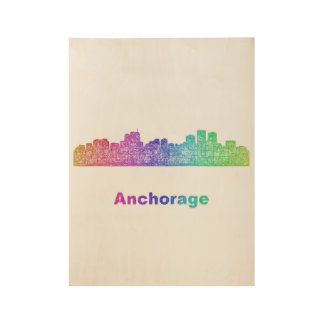 Rainbow Anchorage skyline Wood Poster