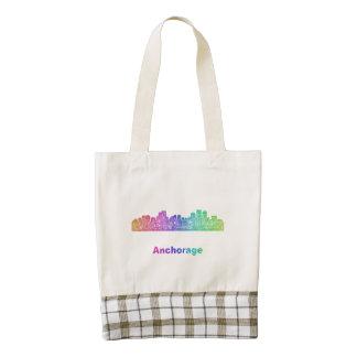 Rainbow Anchorage skyline Zazzle HEART Tote Bag