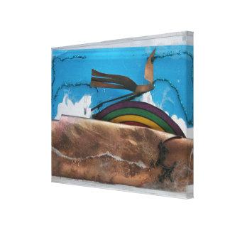 Rainbow and Abstract Bird K7 1986 Mixed-media C Canvas Print