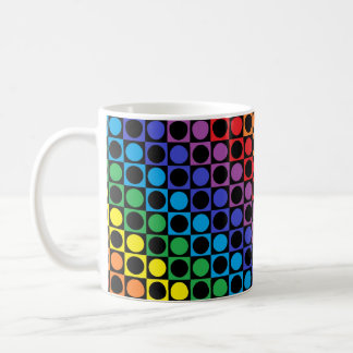 Rainbow and Black Squares and Polka Dots Coffee Mug