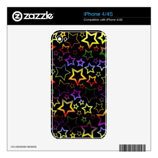 Rainbow and Black Stars Pattern Decals For The iPhone 4S
