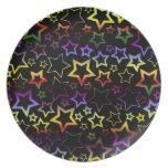 Rainbow and Black Stars Pattern Dinner Plate