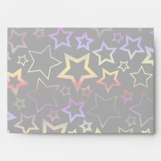Rainbow and Black Stars Pattern Envelopes