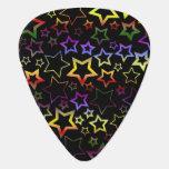 Rainbow and Black Stars Pattern Guitar Pick