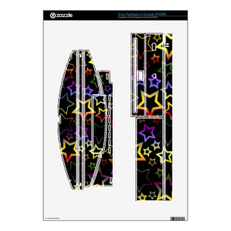 Rainbow and Black Stars Pattern Skin For PS3 Console