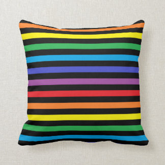 Rainbow and Black Stripes Pillow