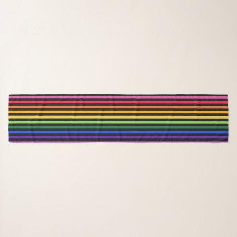 Rainbow and black stripes scarf