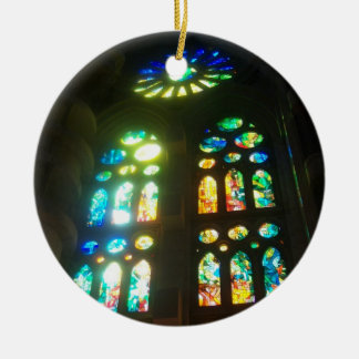 Rainbow and Blue Stained Glass Christmas Ornament