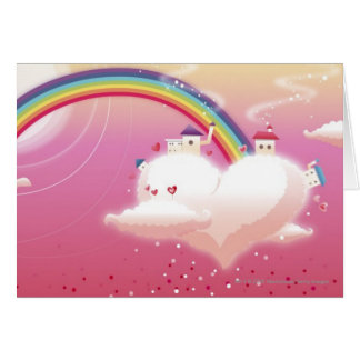 Rainbow and buildings on clouds greeting cards