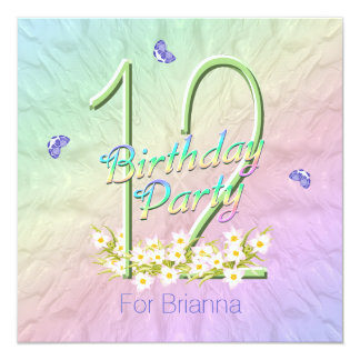 Rainbow and Butterflies 12th Birthday Party 5.25x5.25 Square Paper Invitation Card