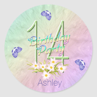 Rainbow and Butterflies 14th Birthday Party Classic Round Sticker
