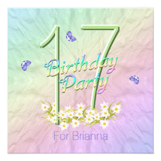 """Rainbow and Butterflies 17th Birthday Party 5.25"""" Square Invitation Card"""