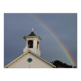 Rainbow and Church Poster