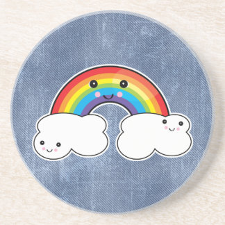 rainbow and cloud pals beverage coaster