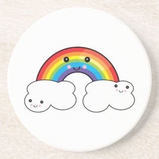 rainbow and cloud pals coasters