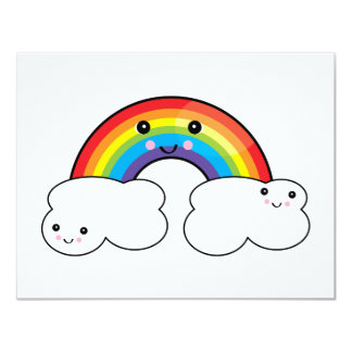 "rainbow and cloud pals 4.25"" x 5.5"" invitation card"
