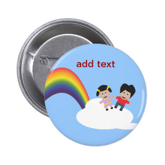 Rainbow and Clouds Friendship Button