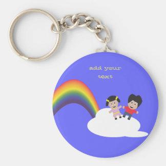 Rainbow and Clouds Friendship Keychain
