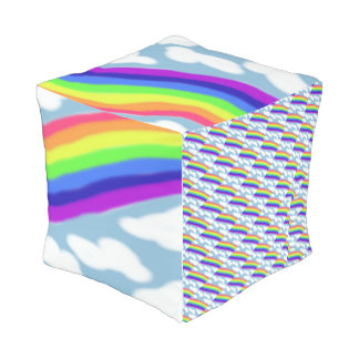 Rainbow and Clouds Outdoor Pouf