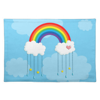 Rainbow and clouds raining stars placemat