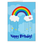 Rainbow and clouds raining stars stationery note card