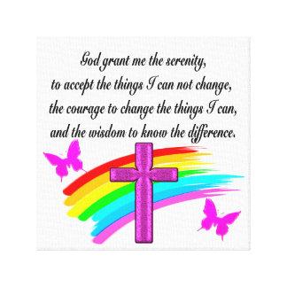 RAINBOW AND CROSS SERENITY PRAYER DESIGN CANVAS PRINT