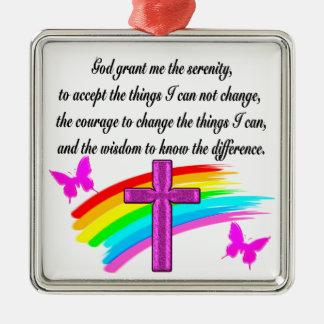 RAINBOW AND CROSS SERENITY PRAYER DESIGN METAL ORNAMENT