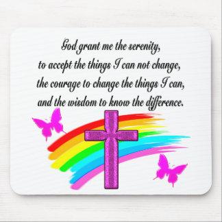 RAINBOW AND CROSS SERENITY PRAYER DESIGN MOUSE PAD