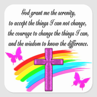 RAINBOW AND CROSS SERENITY PRAYER DESIGN SQUARE STICKER