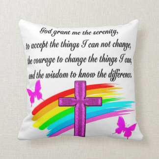 RAINBOW AND CROSS SERENITY PRAYER DESIGN THROW PILLOW