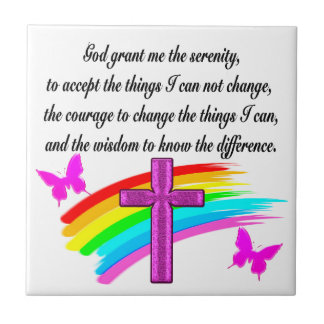 RAINBOW AND CROSS SERENITY PRAYER DESIGN TILE