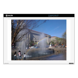"""Rainbow and Fountain in Washington, D.C. Skins For 17"""" Laptops"""