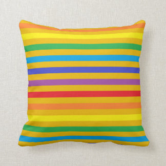 Rainbow and Gold Stripes Pillow