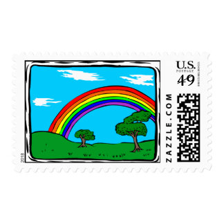Rainbow and green grass postage