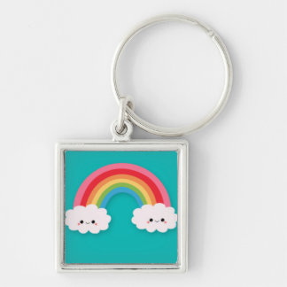 Rainbow and Happy Cluds on Teal Silver-Colored Square Keychain
