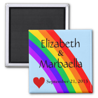 Rainbow and Heart 2 Inch Square Magnet