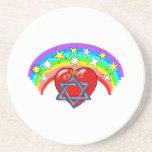 Rainbow and Jewish Stars Beverage Coaster