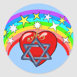 Rainbow and Jewish Stars Classic Round Sticker