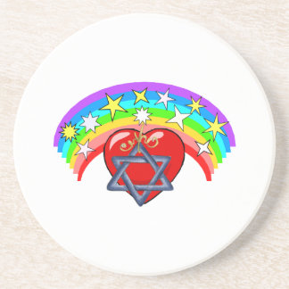 Rainbow and Jewish Stars Coaster
